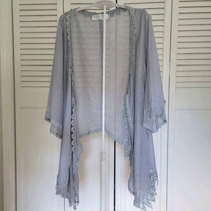 Silk & Linen Blend Sheer Lace Cardigan